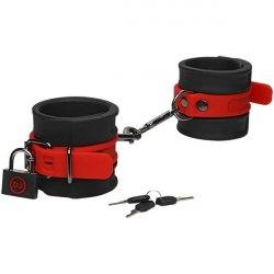 Kink - Silicone Wrist Cuffs - Black & Red Product Image