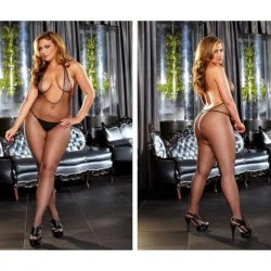 Lapdance Black Deep V Fishnet Crotchless Bodystocking - Queen Product Image