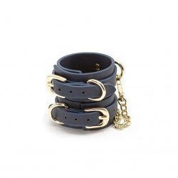 Bondage Couture Wrist Cuffs - Dark Blue Product Image
