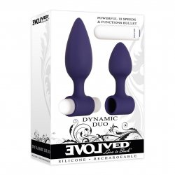Evolved Dyamic Duo Rechargeable 2 Piece Vibrating Butt Plug Set - Purple Product Image