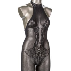 Scandal Plus Size Halter Lace Body Suit - Black Product Image