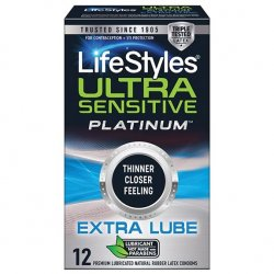 Lifestyle Ultra Sensitive Platinum Extra Lube Condoms - 12 Pack Product Image