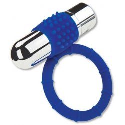 Zolo Rechargeable Bullet Cock Ring - Blue Product Image