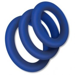 Zolo Extra Thick Silicone Cock Ring 3 Pack - Blue Product Image