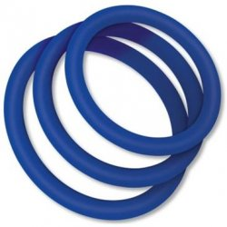 Zolo Classic Stretchy Silicone Cock Ring 3 Pack - Blue Product Image