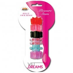 Wet Dreams Pleasure Stars Jelly Cock Rings 6 Pack Product Image