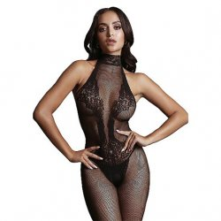 Shots Fishnet and Lace Black Bodystocking - One Size Product Image