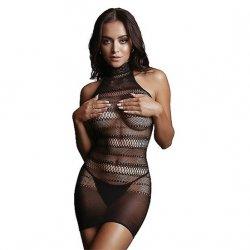 Shots High Lace Neck Net Black Mini Dress - One Size Product Image