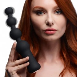 Master Series Deluxe Voodoo Beads 10x Silicone Rechargeable Vibrating Anal Beads - Black Product Image