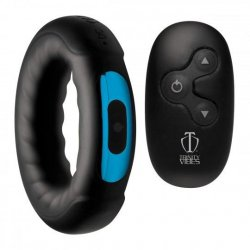 Trinity Vibes Remote Control 7x Rechargeable Silicone Cock Ring - Black Product Image