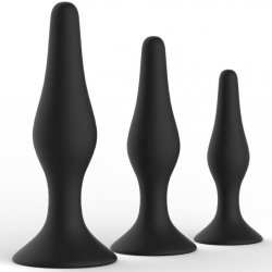 Level Up II 3 Piece Silicone Suction Cup Anal Trainer Kit - Black Product Image