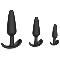 Level Up 3 Piece Silicone Anchor Anal Trainer Kit - Black Product Image
