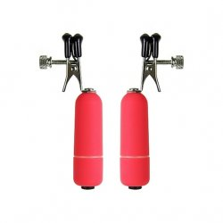 Ouch! Vibrating Nipple Clamps - Red Product Image