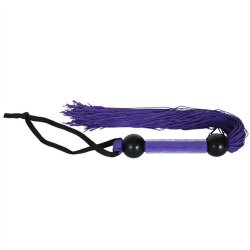 """Rubber Tickler Whip - Purple 14"""" 4 Product Image"""
