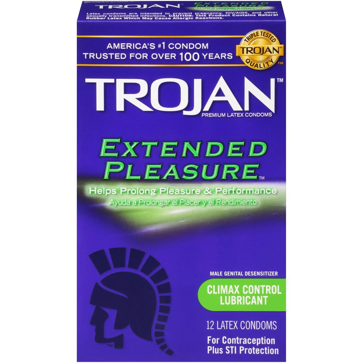 Trojan Extended Pleasure Premium Latex Condoms - 12 Pack -6564