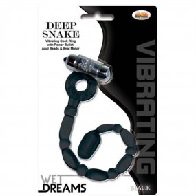 Hung: Deep Snake Vibrating Anal Beads & Cock Ring - Black 2 Product Image