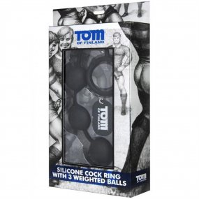 "Tom Of Finland Silicone Cock Ring With 3 Weighted Balls - Black - 12"" 2 Product Image"