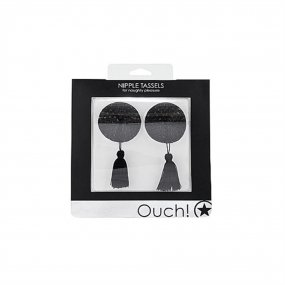Ouch! Nipple Tassels - Round - Black 2 Product Image