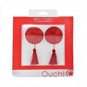 Ouch! Nipple Tassels - Round - Red 2 Product Image