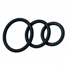 Nitrile Cock Ring Set - 3-Pack - Black 1 Product Image