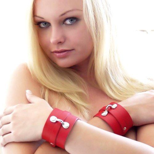 KinkLab Bondage Basics Leather Ankle Cuffs - Red 2 Product Image
