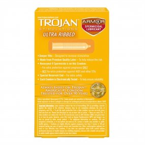 Trojan Ultra-Ribbed Condoms - Spermicidal - 12-Pack 2 Product Image