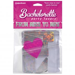 "Bachelorette Party Favors ""From Miss to Mrs"" Party Banner 1 Product Image"