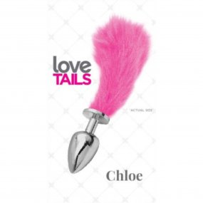 Love Tails: Chloe Silver Plug with Short Pink Tail - Small 1 Product Image