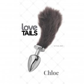 Love Tails: Chloe Silver Plug with Short Black Tail - Small 1 Product Image