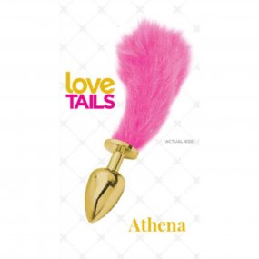 Love Tails: Athena Gold Plug with Short Pink Tail - Small 1 Product Image