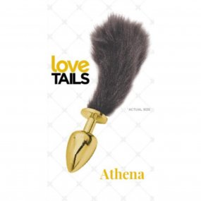 Love Tails: Athena Gold Plug with Short Black Tail - Small 1 Product Image