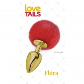 Love Tails: Flora Gold Plug with Red Pom Pom - Medium 1 Product Image