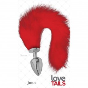 Love Tails: Juno Silver Plug with Long Red Tail - Large 1 Product Image