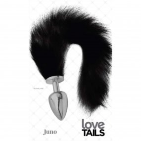 Love Tails: Juno Silver Plug with Long BlackTail - Large 1 Product Image