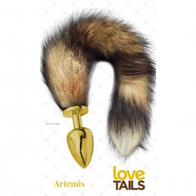 Love Tails: Artemis Gold Plug with Long Brown Tail - Large 1 Product Image