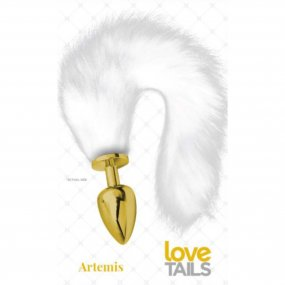 Love Tails: Artemis Gold Plug with Long White Tail - Large 1 Product Image