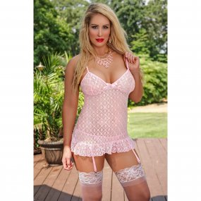 Exposed - Stardust - Chemise & G-String Set - S/M - Pink 1 Product Image