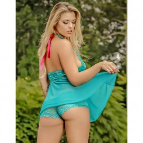 Exposed - Teal Bliss - Baby Doll & Short Set - L/XL 2 Product Image