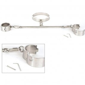 Rapture: Stainless Steel Neck and Wrist Restraint with Spreader Bar  1 Product Image