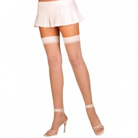 Elegant Moments: Sheer Thigh High - White - Queen Size 1 Product Image