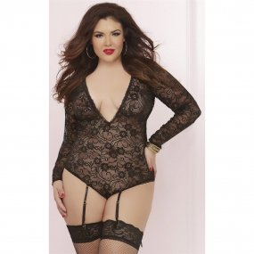 Long Sleeve Teddy with Garters - Black - Queen Size 1 Product Image
