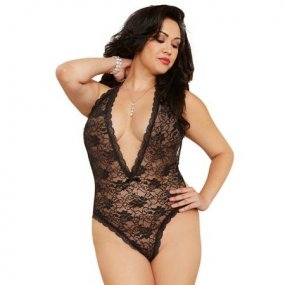 Lace Teddy with Heart Cut Out Detail - Queen Size - Black 1 Product Image