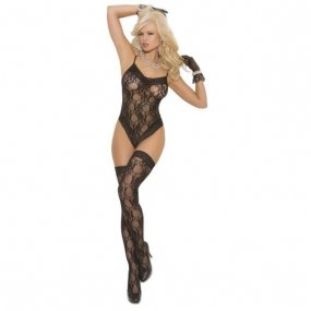 Lace Teddy and Matching Thigh Highs - O/S - Black 1 Product Image