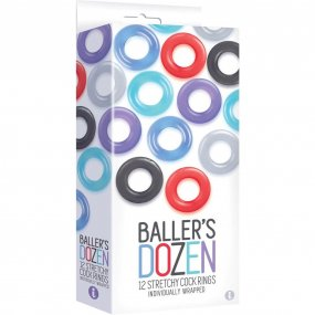 The 9's: Baller's Dozen 12 Stretchy Cock Rings 1 Product Image