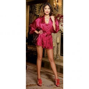 Charmeuse Short Length Kimono with Matching Chemise - Red - Small 1 Product Image