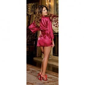 Charmeuse Short Length Kimono with Matching Chemise - Red - Small 2 Product Image