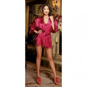 Charmeuse Short Length Kimono with Matching Chemise - Red - 1X/2X 1 Product Image