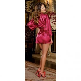 Charmeuse Short Length Kimono with Matching Chemise - Red - 1X/2X 2 Product Image
