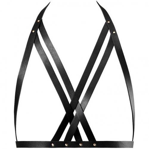Bijoux Indiscrets: Maze Halter Bra Harness - Black 1 Product Image