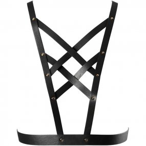 Bijoux Indiscrets: Maze Cross Cleavage Harness - Black 1 Product Image
